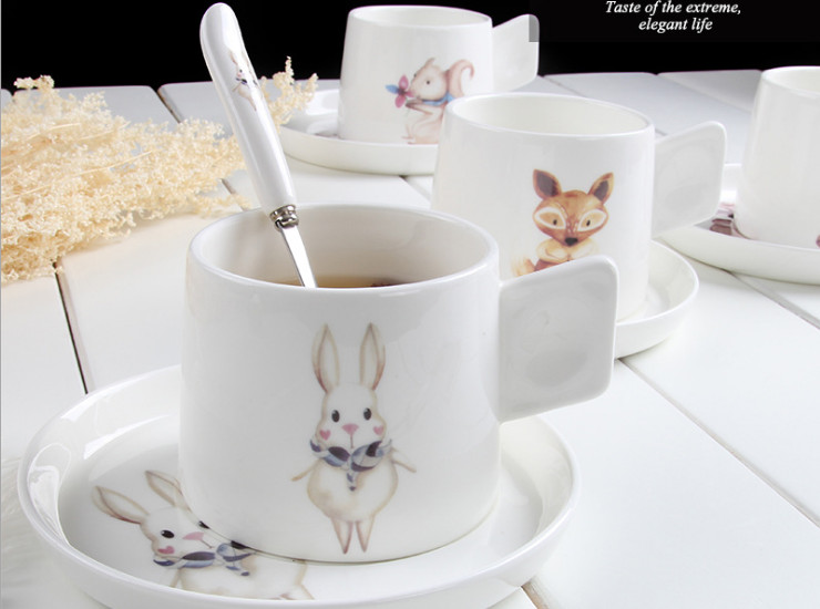 Ceramic Bone Cafe Coffee Cocktail Cute Animal Creative Afternoon Tea Ceramic Cafe Cafe Bowl Spoon Bone Porcelain Gift Set