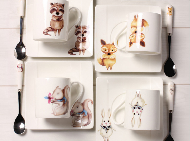 Ceramic Bone Cafe Coffee Cocktail Scoop Nordic Cartoon Animals Creative Ceramic Afternoon Tea Bone Porcelain Coffee Mug Set Cassette Set Cafe Custom Wholesale