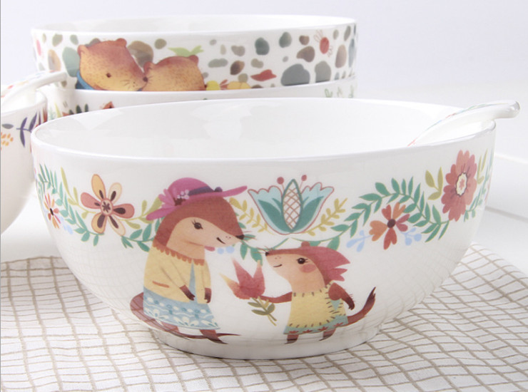 Ceramic Bone Porcelain Bowl Cartoon Ceramic Bowl Cute Creative 6 Inch High Bone Porcelain Salad Bowl Bowl Bowl Bowl Noodles Bowl Tableware Set Wholesale