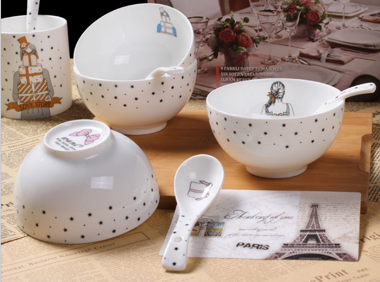 Ceramic Bone Porcelain Bowl Ceramic Bowl Bone Porcelain Rice Bowl Bubble Bowl Bowl Bowl High Piece Set Set Cartoon European Style Simple Ceramic Spoon