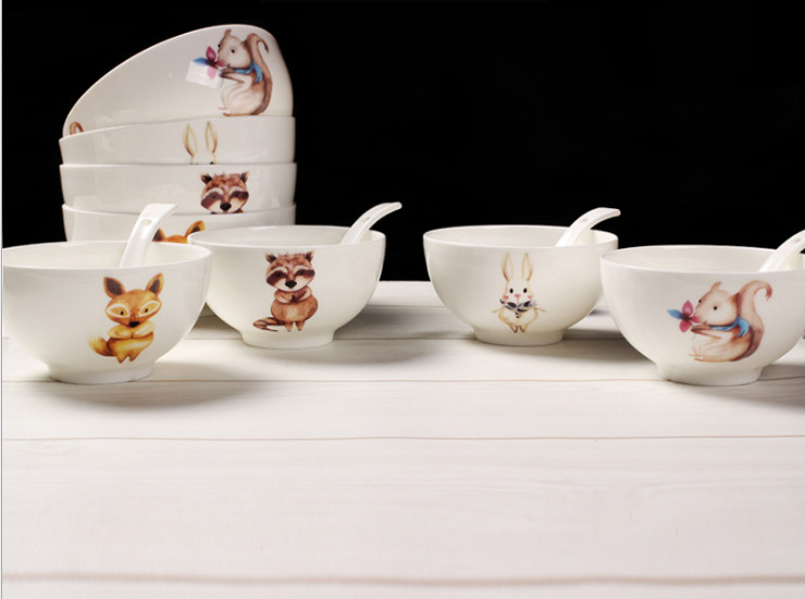 Ceramic Bone Porcelain Bowl Creative Cartoon Dumplings Animal Bowl Porcelain Porcelain Rice Salad Bowl Bowl Bowl Bowl Bowl