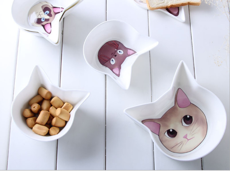 Ceramic Bone Porcelain Bowl Cute Little Cats Tableware Creative 4.5 Inch Bone Porcelain Bowl Rice Bowl Dishwasher Bowl Set