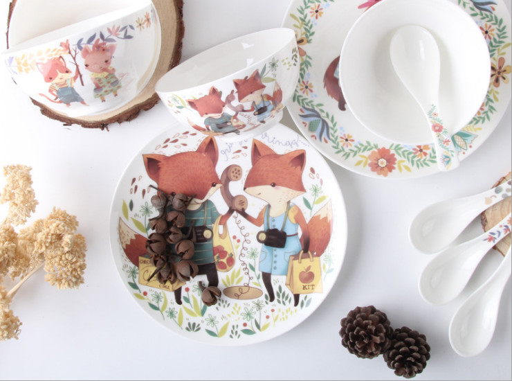 Ceramic Bone Porcelain Bowl Household Rice Bowl Creative Cute Cartoon Ceramic Tableware Set Bone Porcelain Bowl Salad Dessert Bowl