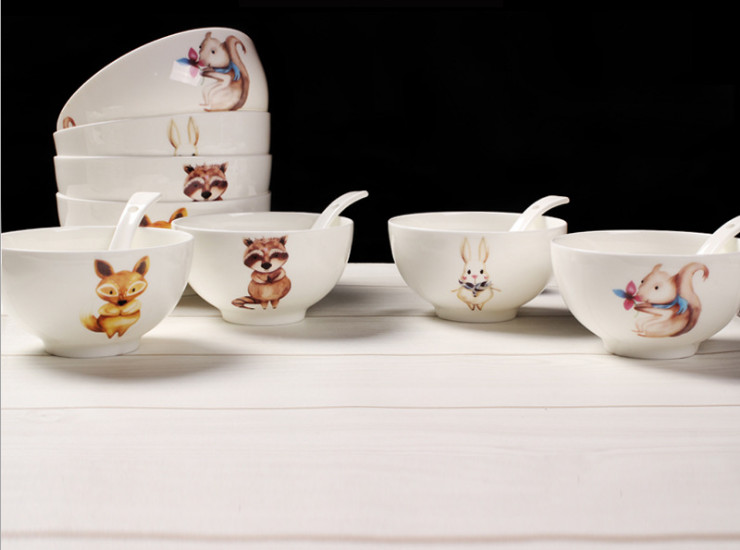 Ceramic Bone Porcelain Bowl Spoon 6 Inch Cartoon Animal Creative Ceramic Bowl Bone Porridge Rice Salad Bowl Of Instant Noodles Bowl Bowl Bowlware Set Wholesale