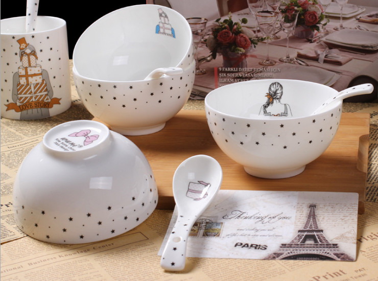 Ceramic Bone Porcelain Bowl Spoon Ceramic Bowl Bone Porcelain Rice Bowl Bubble Noodle Bowl Bowl Bowl High-Grade Tableware Suit Cartoon Korean Creative 4.5-Inch Wholesale