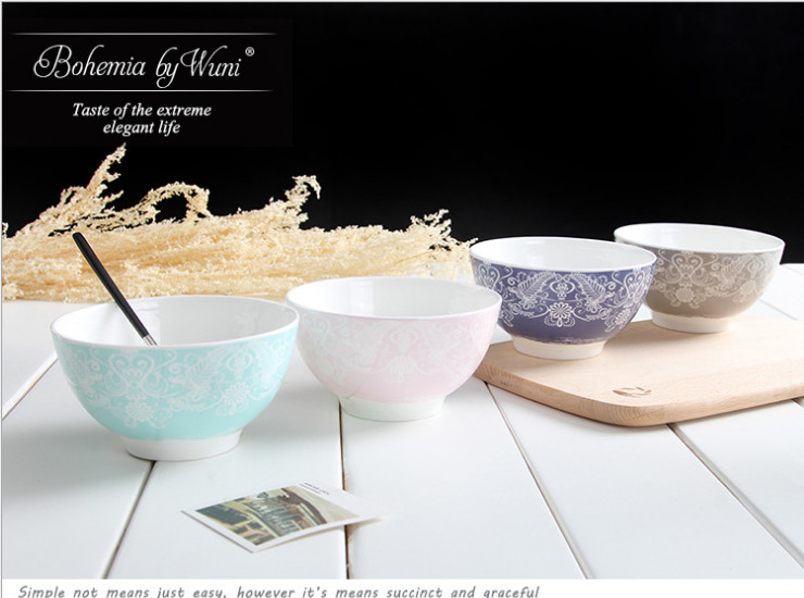 Ceramic Bone Porcelain Bowl Spoon European Simple Ceramic Bowl Creative Fashion Art Bone Porcelain Rice Bowl Salad Bowl Gift Tableware Set Wholesale