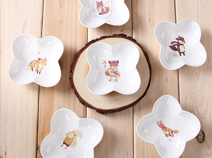 Ceramic Bone Porcelain Cute Animal Cartoon Creative Nordic Bone Porcelain Sauce Sauce Seasoning Tile Ceramic Tile Dishware Set