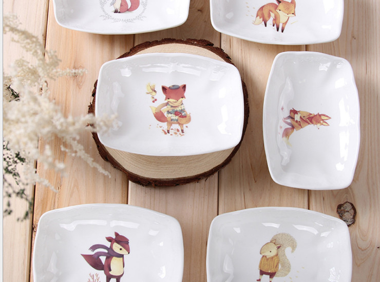 Ceramic Bone Porcelain Cute Cartoon Creative European Restaurant Ceramic Soy Sauce Seasoning Sliced ??Bone Porcelain Dessert Set