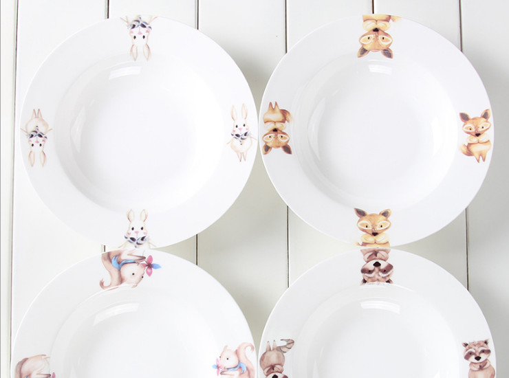 Ceramic Bone Porcelain Western Panorama Nordic Cute Animals Spaghetti Bone Porcelain Deep Pond Creative Restaurant Cartoon Ceramic Plate Sauce Plate