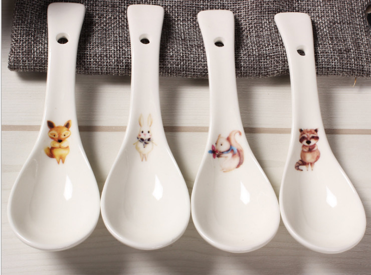Ceramic Bone Porch Cocktail Cute Animals Ceramic Bowl Spoon High-Grade Bone Porcelain Rice Salad Bowl Bowl Bowl Bowl Dropper Bowl Spoon Creative Tableware