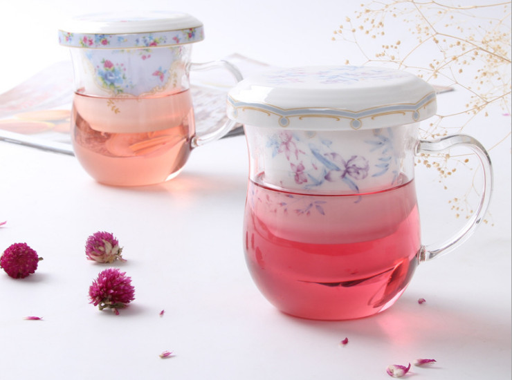 Ceramic Flower Cups Creative Flower Cups Cups Ceramic Couple Cups Heat-Resistant Glass Flowers Cups Tea Bags Tea Bags With Lid
