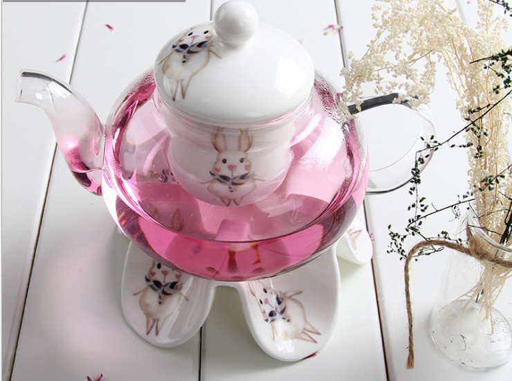 Ceramic Flower Teapot European Style Teapot Candle Heating Creative Glass Pot Ceramic Filter Base Set Fruit Flower Tea With A Wholesale