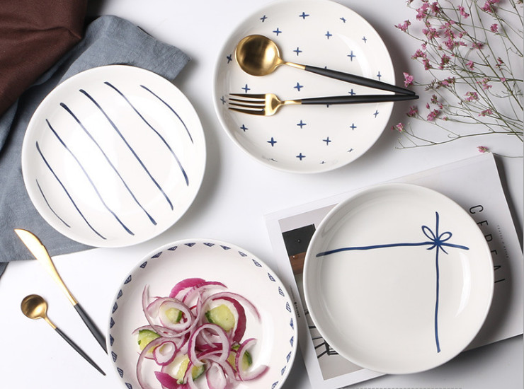 Ceramic Plates Rice Dishes Household Ceramic Tableware Hotel Dishes Soup Plates Dishes Dishes