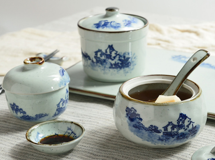 Chinese Ceramics With Lid Bowl Hotel Clubhouse Restaurant Hot Pot Restaurant Sushi Soup Stew Egg Tart