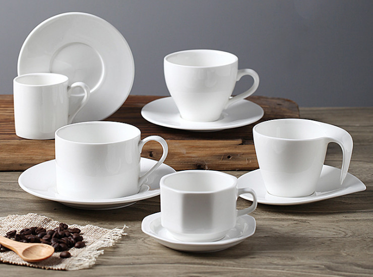 Coffee Cup And Saucer Set Ceramic Creative Continental Coffee Cup White Simple Coffee Cup