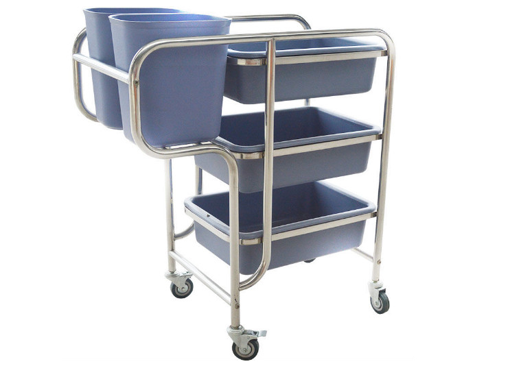Collection Bowler Plate Dish Collection Vehicle Thick Stainless Steel Three-Layer Dining Car Multifunctional Plastic Cleaning Cart