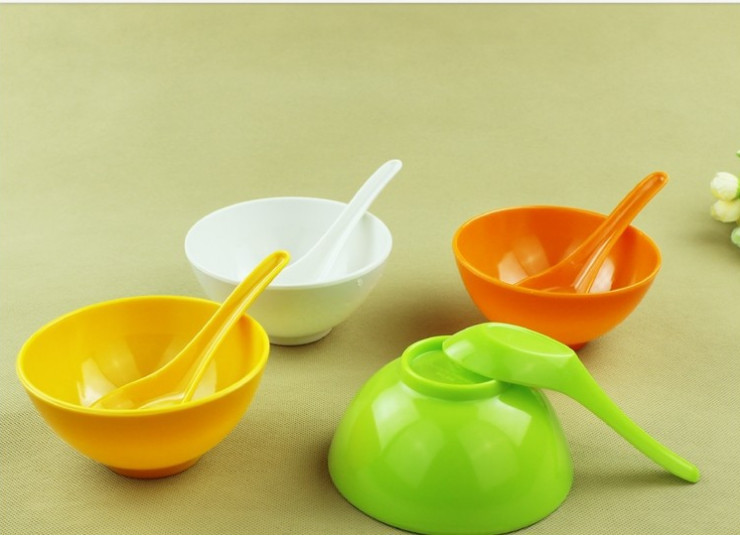 Color Bowl Plastic Bowl Soup Bowl Melamine Bowl Candy Porcelain Tableware Child White Green Orange Yellow Bowl 11.5Cm