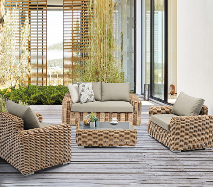 Courtyard Leisure Rattan Table And Chair Four-Piece Combination Outdoor Rattan Chair Sofa Outdoor Aluminum Rattan Balcony Sofa (Delivery & Installation Fee To Be Quoted Separately)