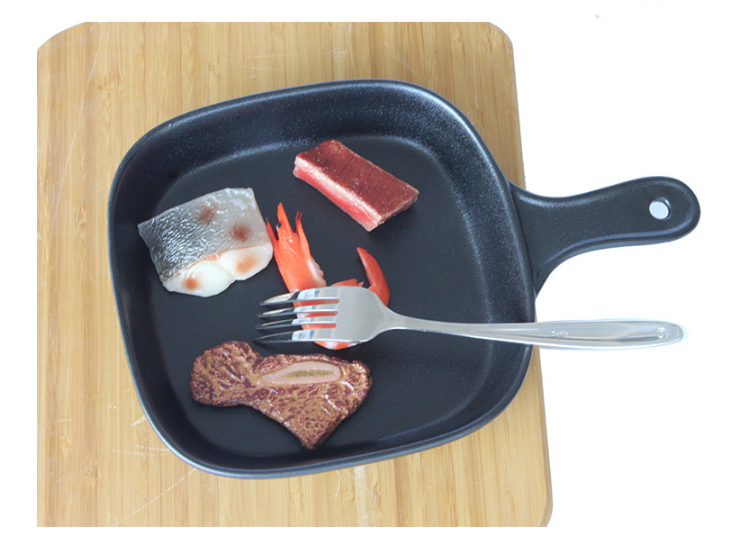 Creative Black Frosted Ceramic Frying Pan Dish Pizza Dish Steak Dish