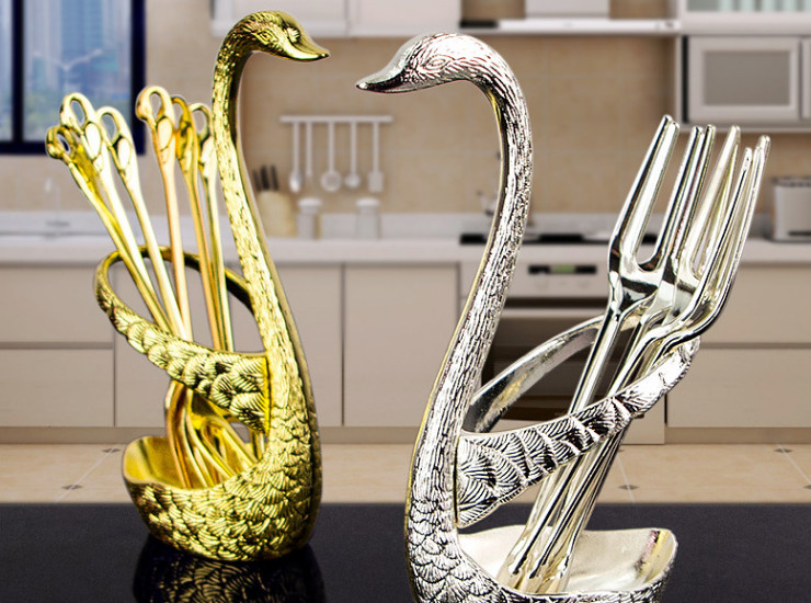 Creative Gold Swan Fruit Fork Set Dessert Fork Fork Forklery Tableware Wedding Gift