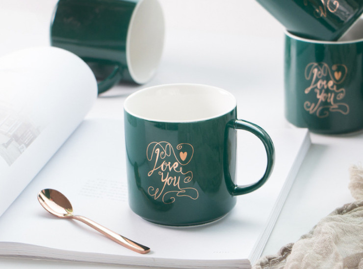 Creative Home Mug Personality Cup Nordic Green Gold Ceramic Office Coffee Cup Love You Mug