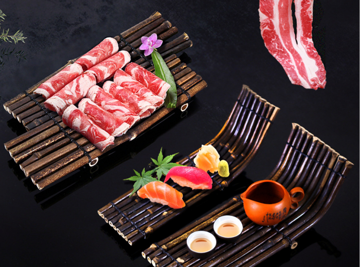 Creative Hot Pot Bamboo Steak On Dinner Plate Tableware Zizhu Boat Sushi Table Elbow Bamboo Porcelain Barbecue Tea Decoration (Multiple Styles & Sizes)