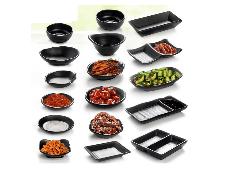 Creative Japanese-Style Hot Pot Dishes Seasoning Plate Two Grid Plate Imitation Porcelain Melamine Black Snack Plate Three Grid Dipping Saucer