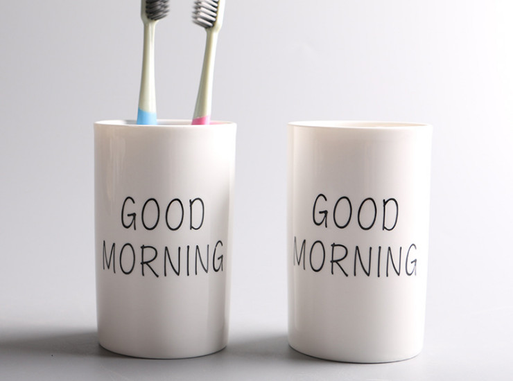 Creative Mouthwash Ceramic Cup Brush Mouth Cylinder Wash Couple Couple Cup Round Breakfast Cup (Various Models)