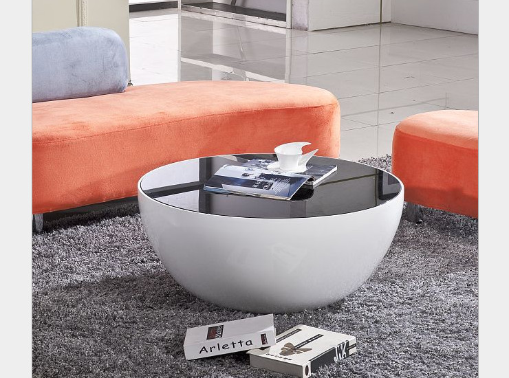 Creative Personality Coffee Table Curved Glass Steel White Black Tempered Glass Fashion Office Furniture (Shipping & Installation Fee To Be Quoted Separately)