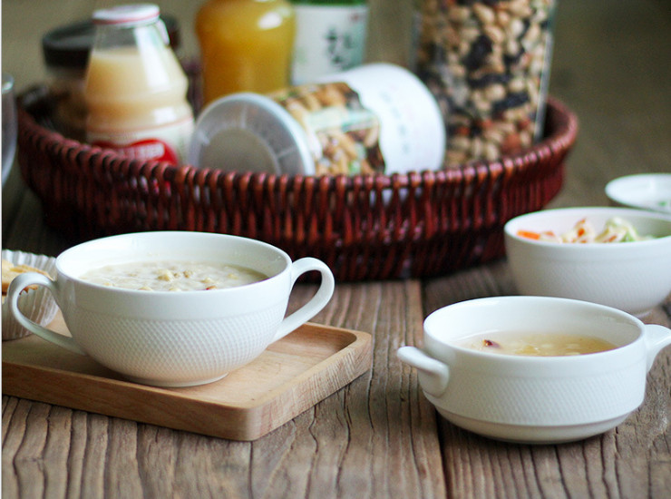 Creative White Ceramic Soup Bowl 250Ml With Double Ear Soup Bowl Dessert Bowl Supplements Stew Pot