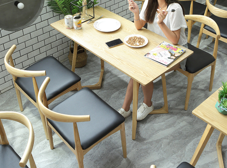 Croissant Chair Cafe Western Dessert Shop Tables Chairs Kfc Wood Fast Food Tea Shop Tables Chairs (Delivery & Installation Fee To Be Quoted Separately)