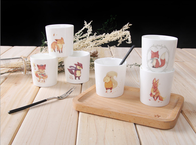 Cute Fox Creative Pudding Cup Cheese Cup Mousse Cup Cups Individual Ceramic Baking Oven Mold Wholesale