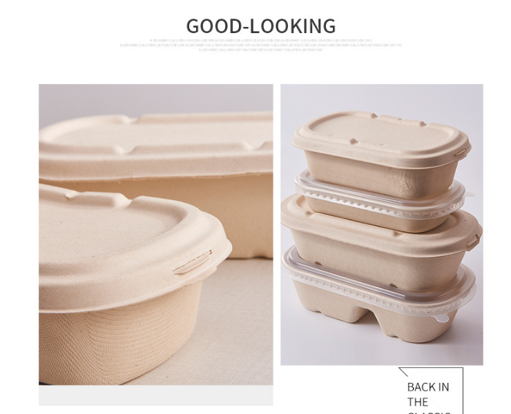 (Ready To Take Straw Pulp Takeaway Box In Stock) (Box/500 Sets) Degradable Straw Pulp Takeaway Box Salad Spaghetti Rice Economical And Environmentally Friendly Lunch Box Lunch Box