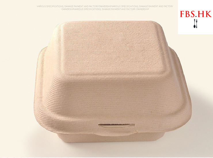 (Instant Pick Eco-fiendly Biodegradable Straw Pulp Burger Box Ready Stock) (Box/500 pcs) Disposable Biodegradable Burger Box Takeaway Square Meal Box
