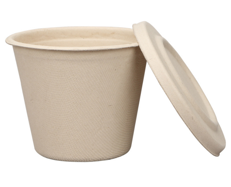 (Box/500 Sets) Disposable Bowl Pulp Soup Cup Environmental Degradable Soup Bowl Straw Pulp Paper Bowl With Lid 425Ml Takeaway Packaging Bowl (Door Delivery Included)