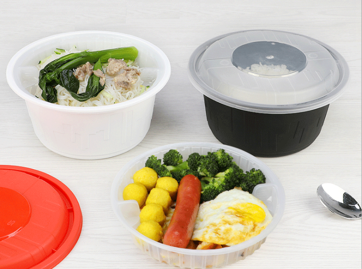 (Box / 150 Sets) Disposable Meal Box Round Plastic Packaging Box Soup Fried Noodles Takeaway Fast Food Lunch Box (Door Delivery Included)
