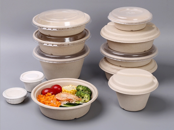 (Ready Biodegradable Pulp Bowl In Stock) (Box/300 Sets) Disposable Round Biodegradable Pulp Takeaway Packaging Round Bowl Environmental Round Box Environmental Round Noodle Bowl