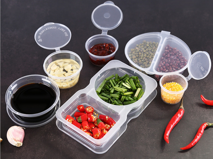 (Instant-pick Split Sauce Cup Ready Stock) (Box/600 Pcs/400 Sets) Divided Compartment Two Grid Square Split Sauce Cup Round Conjoined Sauce Cup Takeout Chili Oil Vinegar Seasoning Box Sauce Cup Dip Box