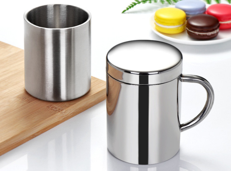 Double-Layer Cover Stainless Steel Insulated Coffee Cup Water Cup Mark Cup