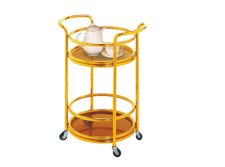 Double Round Titanium Continental Wine Cart Stainless Steel Hotel Solid Wood Dining Cart Cart 4S Shop Service Cart Tea Cart