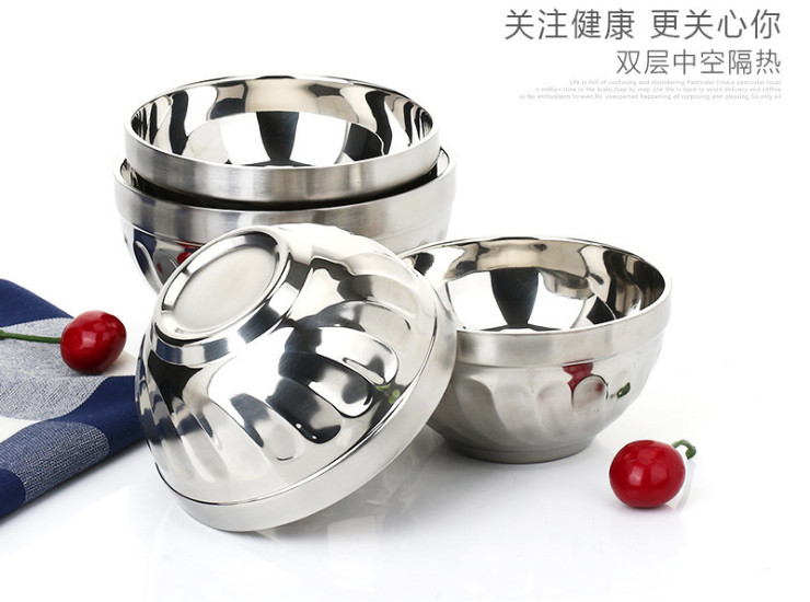 Double Stainless Steel Bowl Insulation Anti-Scalding Lily Bowl Children Small Bowl Student Rice Bowl