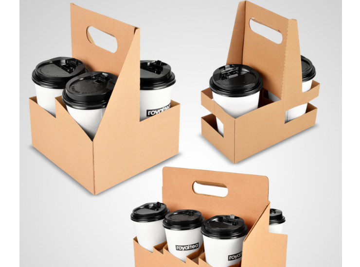 (Ready Hard Kraftpaper Handled Cup Holders In Stock) (Box) Eco-friendly Kraftpaper Cup Holder Takeaway Coffee Milk Tea Packaging Cup Hard Holder