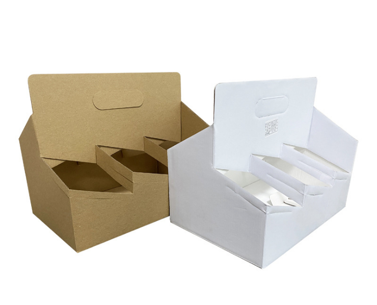 (Box/200 Pcs) Environmental Protection Kraftpaper Cup Holder Coffee Milk Tea Takeout Packaging Cup Holder (Door Delivery Included)