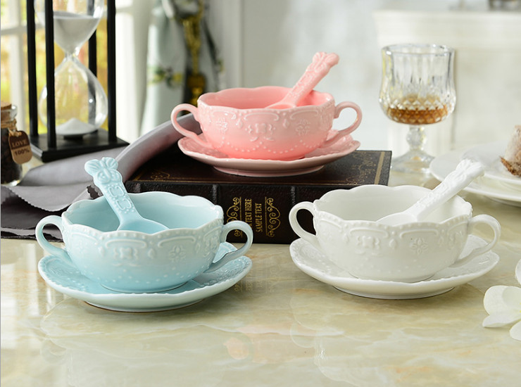 European-Style Ceramic Glaze Earrings Bowl Dessert Bowl Cereal Bowl Breakfast Bowl With Spoon Three-Piece Set