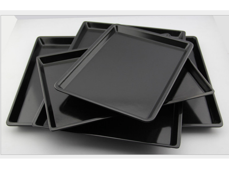 European-Style Imitation Melamine Hotel Room Black White Rectangular Tea Tray Drop-Resistant Plastic Bread Bread Wholesale