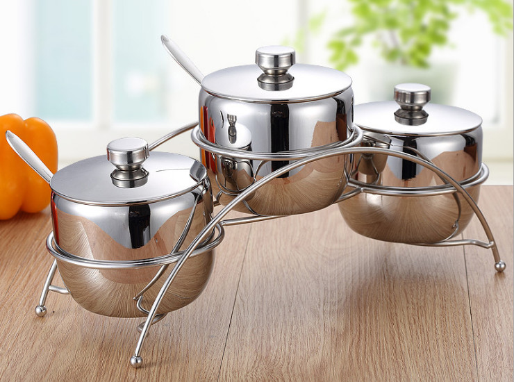 European Style Kitchen Kitchen Utensils Stainless Steel Seasoning Bottles Bottles Tableware Set Four Sets