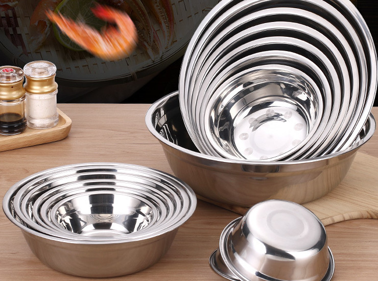 Extra Thick And Deep Non-Magnetic Stainless Steel Soup Pot Plate Dish Round Soup Dish Dish Snack Plate Matching Soup Bowl