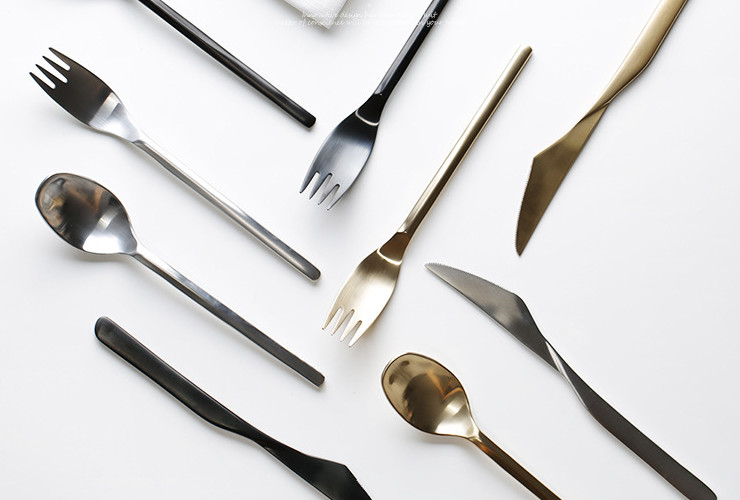 304 Western Meal Stainless Steel Steak Knife Fork Spoon Set Gold Black Silver