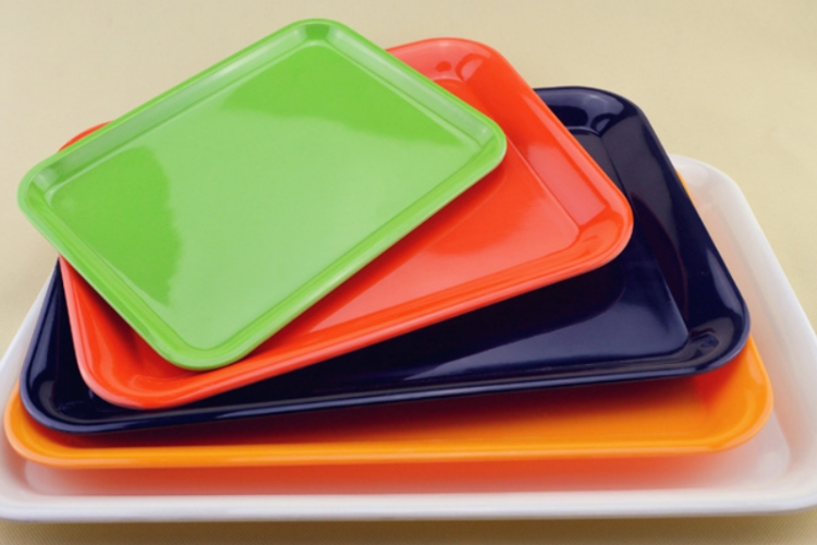 Plastic Fast Food Tray Rectangular Colorful PlasticTray