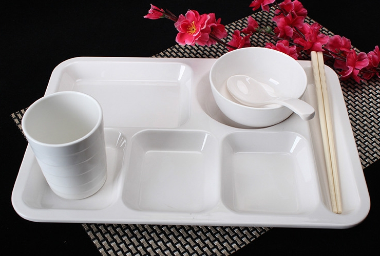 Melamine Ceramic-like Tableware Cell-partitioned Fast-food Tray Set